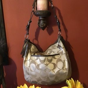Coach 'Large Zoe' Tan Sig C Sateen & Leather Trim